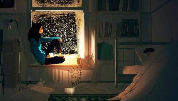 Kvinde i vindue kan ikke sove på grund af bekymringer