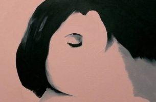 Kvinde med halvt ansigt