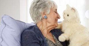 Ældre kvinde nyder katteterapi