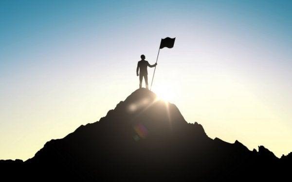 Person på toppen af bjerg med flag