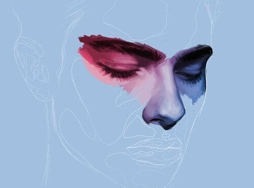 Mand i blå nuancer med kun øjnene fremtrædende