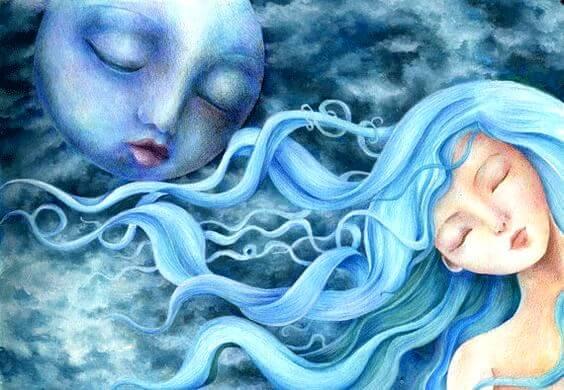Kvinde med blåt hår foran måne