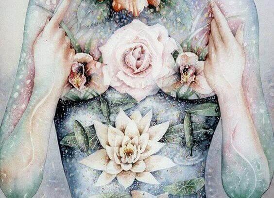 Pige med blomster på krop