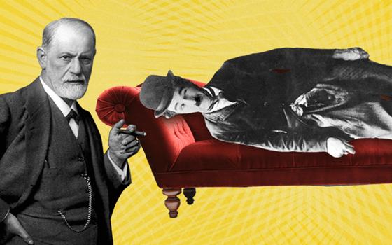 Billede af Charlie Chaplin og Sigmund Freud