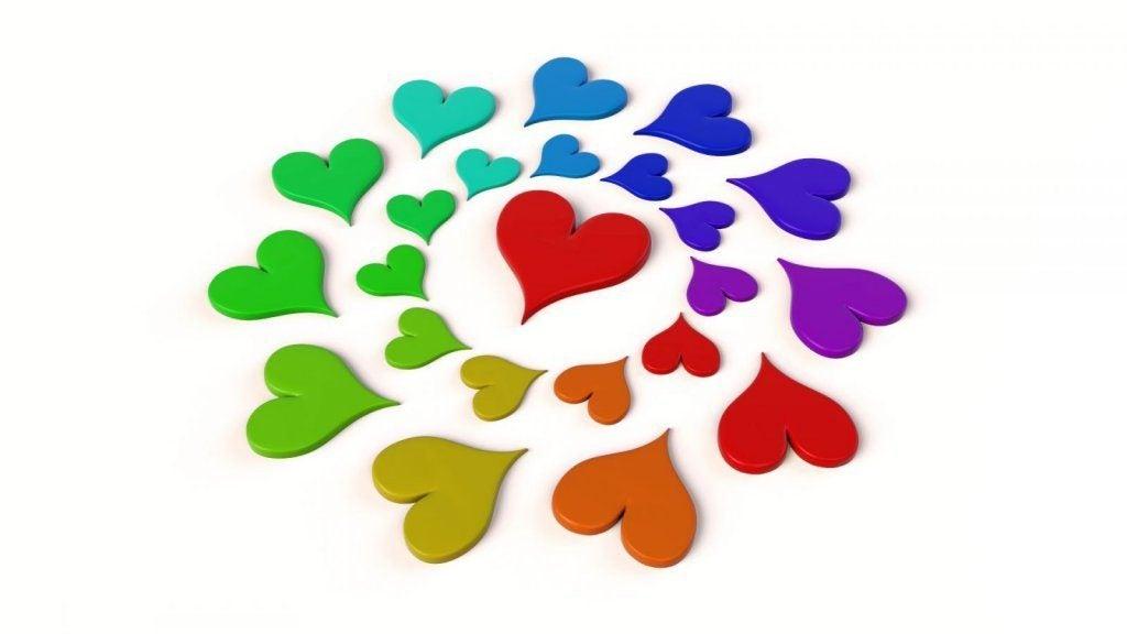 Hjerte i regnbuefarver i cirkel