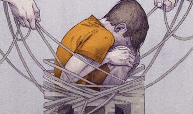 Dreng bundet med reb plages med korporlig afstraffelse