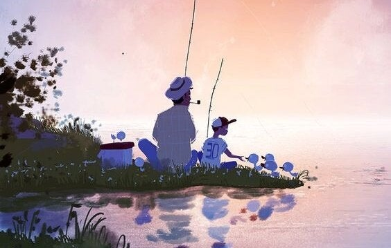 Far og søn fisker og snakker om at lære at tabe