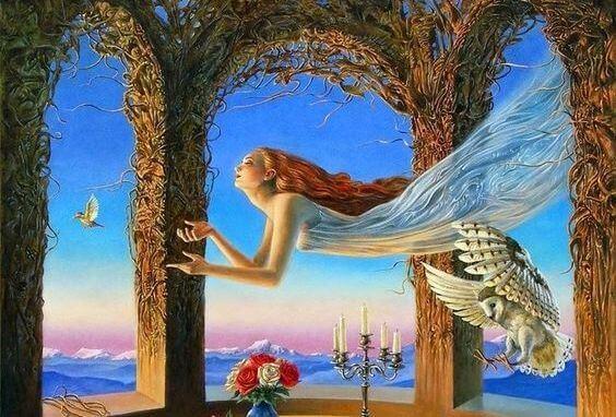 Kvinde flyver højt som resultat af meningsfulde øjeblikke