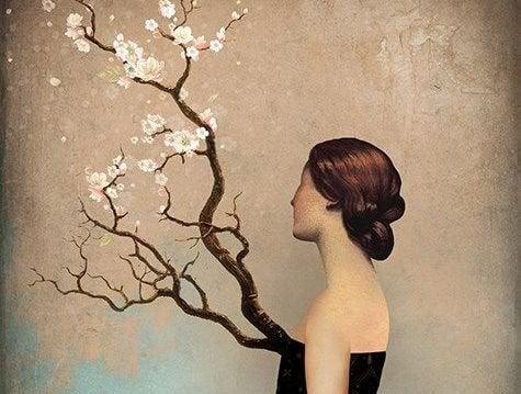 Kvinde med gren voksende ud af bryst plages af fejl fra fortiden