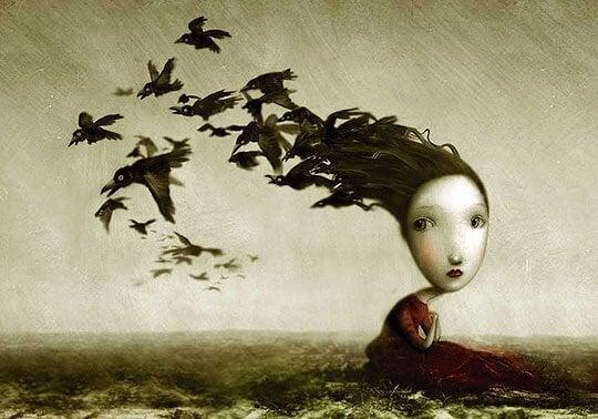 Fugle flyver fra piges sorte hår