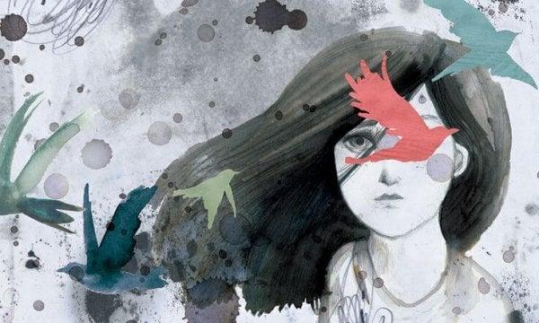 Pige bag fugle er lammet af en følelse af skyld