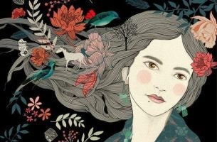 Kvinde med blomster i håret og stift blik prøver at glemme unødvendig information