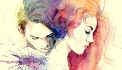 Par malet i akvarel
