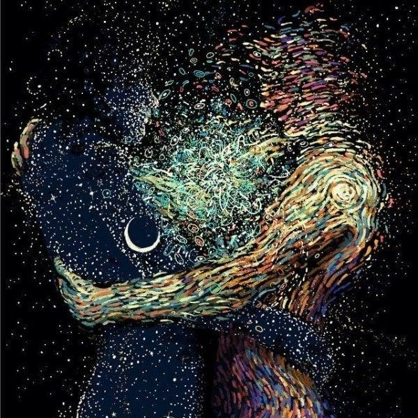 To sjæle krammer i mørket