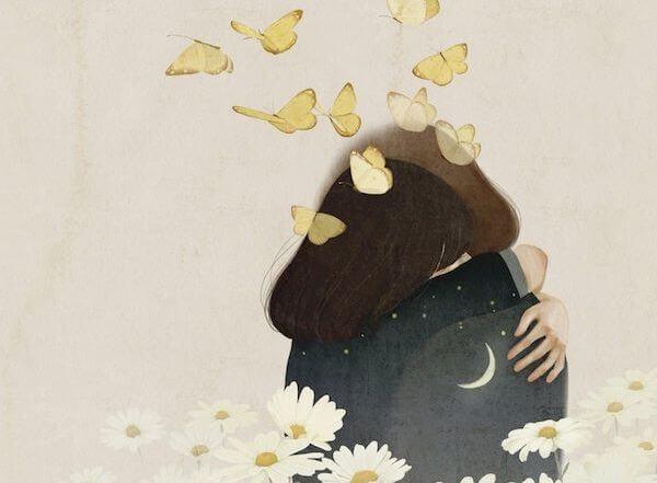 Personer krammer med sommerfugle flyvende omkring