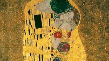 Maleri af par, der illustrerer anatomien af et kys
