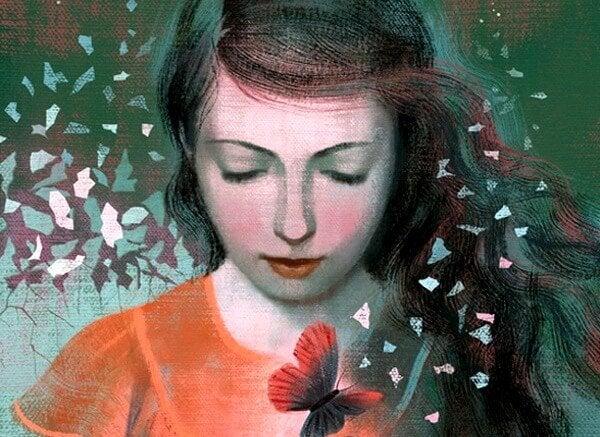 Kvinde med rød blomst har et koldt hjerte