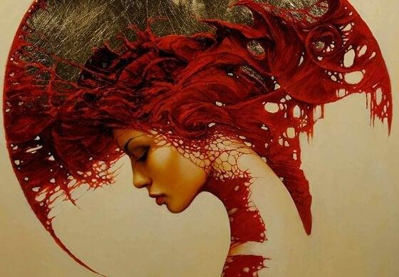 Kvinde med røde farver