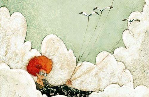 Kvinde, der ligger på sky, er båret af meget høje forventninger