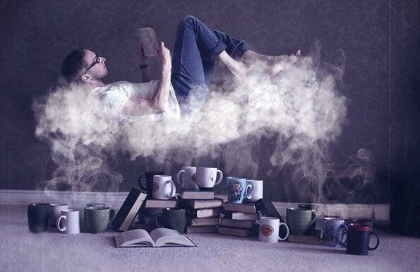 Svævende mand med bog illustrerer forbindelsen mellem læsning og hjernen
