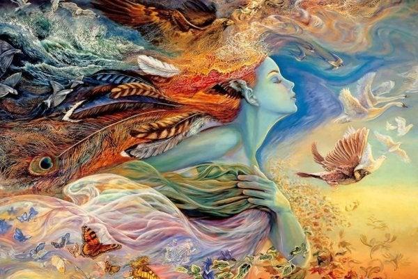 Kvinde i et med naturen accepterer livets konsekvenser