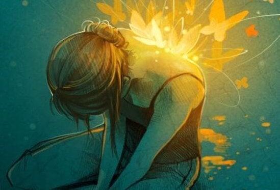 Kvinde med lysende sommerfugle på ryg oplever konstruktiv smerte
