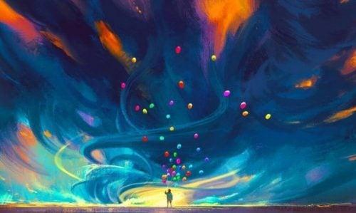Balloner på nattehimmel viser, hvor smukt livet er