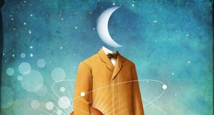 Mand med måne som hoved