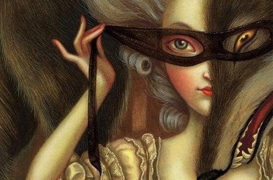 Kvinde med maske på anvender afpresning