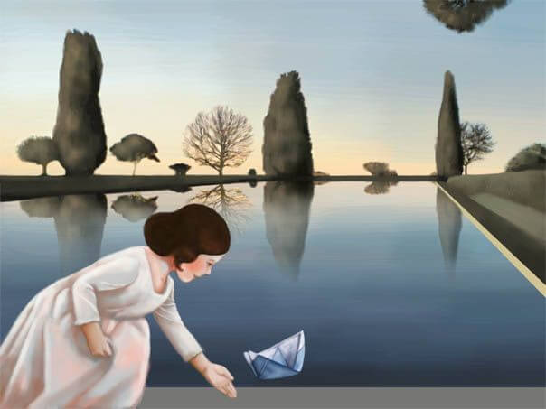 Pige med papirsbåd