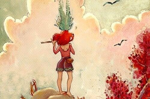 Pige foran himmel