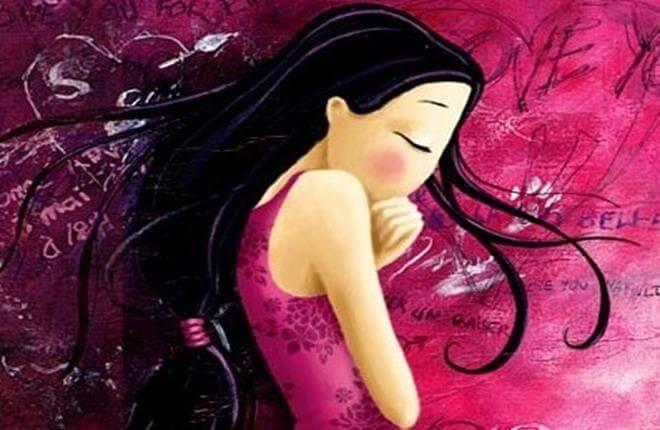 Pige med lukkede øjne tænker over tankefejl