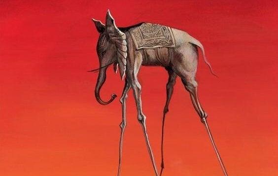 Elefant med lange ben foran rød baggrund