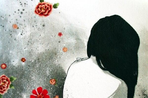 Kvindes ryg med roser omkring