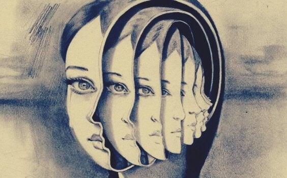 Silhuet af kvinde med mange ansigter