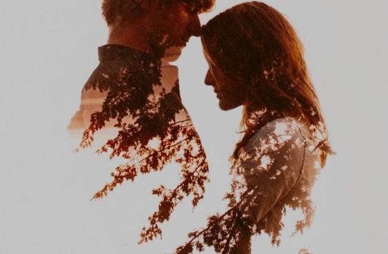 Silhuet af par, der deler sund kærlighed