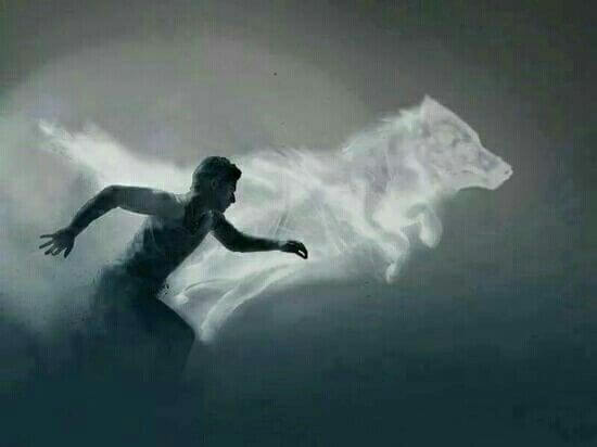 Mand løber med ulv som symbol på at fortsætte i svære tider