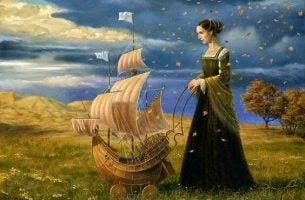 Kvinde leger med skib og nyder meningsfulde øjeblikke