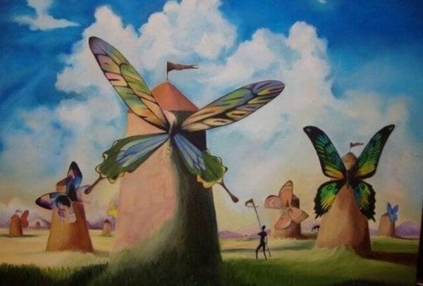 Sommerfugl som vindmølle