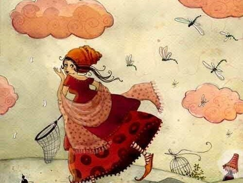 Pige jagter insekter under himmel med lyserøde skyer