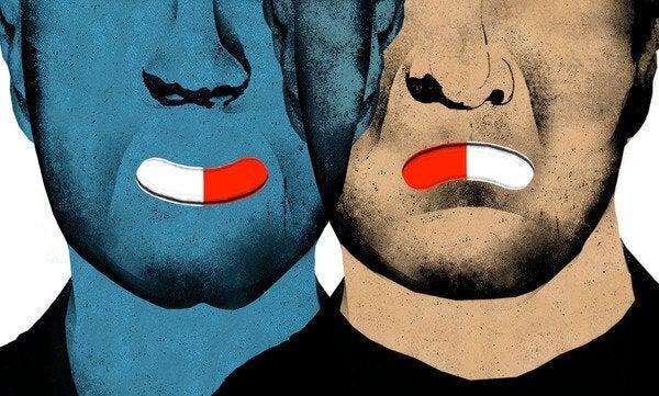 Mænd med antidepressiv medicin i munden