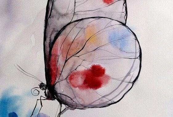 Sommerfugl med maling på vinger