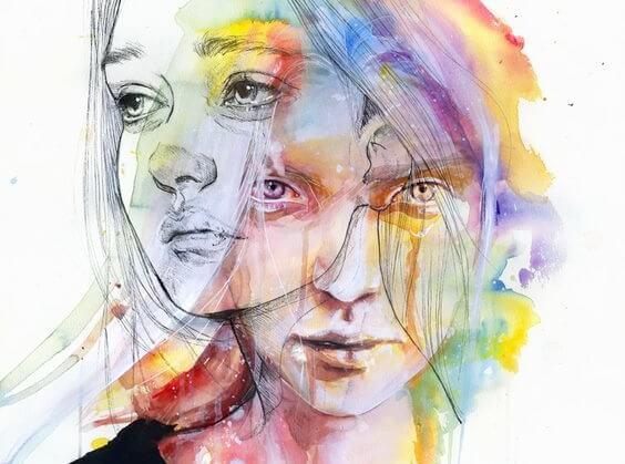 To ansigter med farver