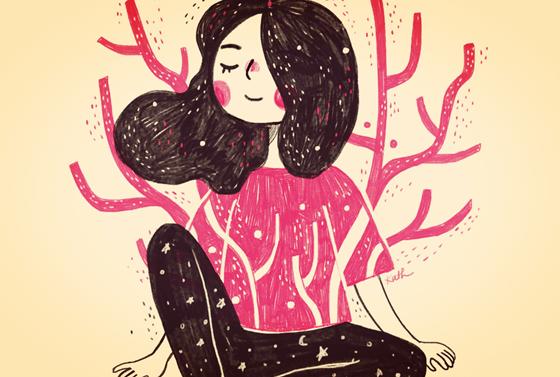 Kvinde i pink træ