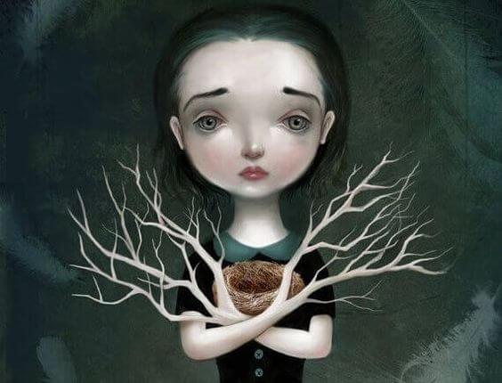 Trist pige med hænder som grene er plaget af afpresning