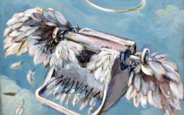 Skrivemaskine med vinger