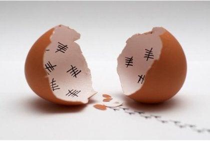 Æggeskal med streger indeni
