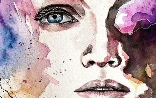 Maleri af kvindes ansigt