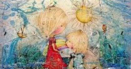 To børn i fantasiland med sol