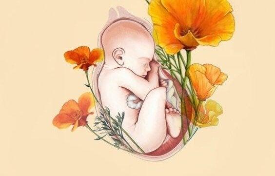 Baby båret af blomster viser det smukke ved at få børn